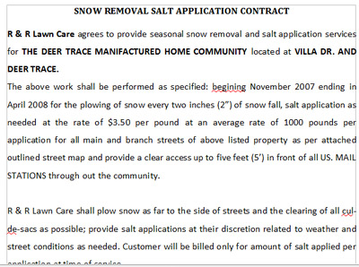 Lawn Care Snow Plow Contract Templates