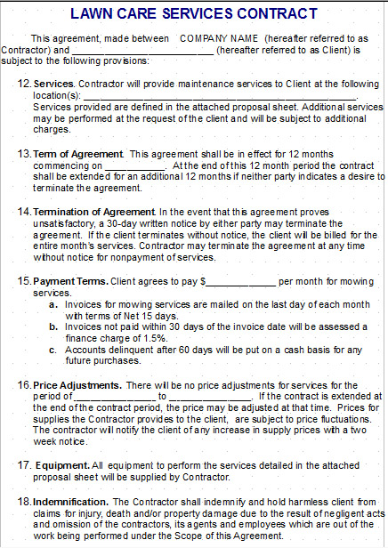 Lawn Care  Snow Plow Contract Templates  Gopherhaul Landscaping