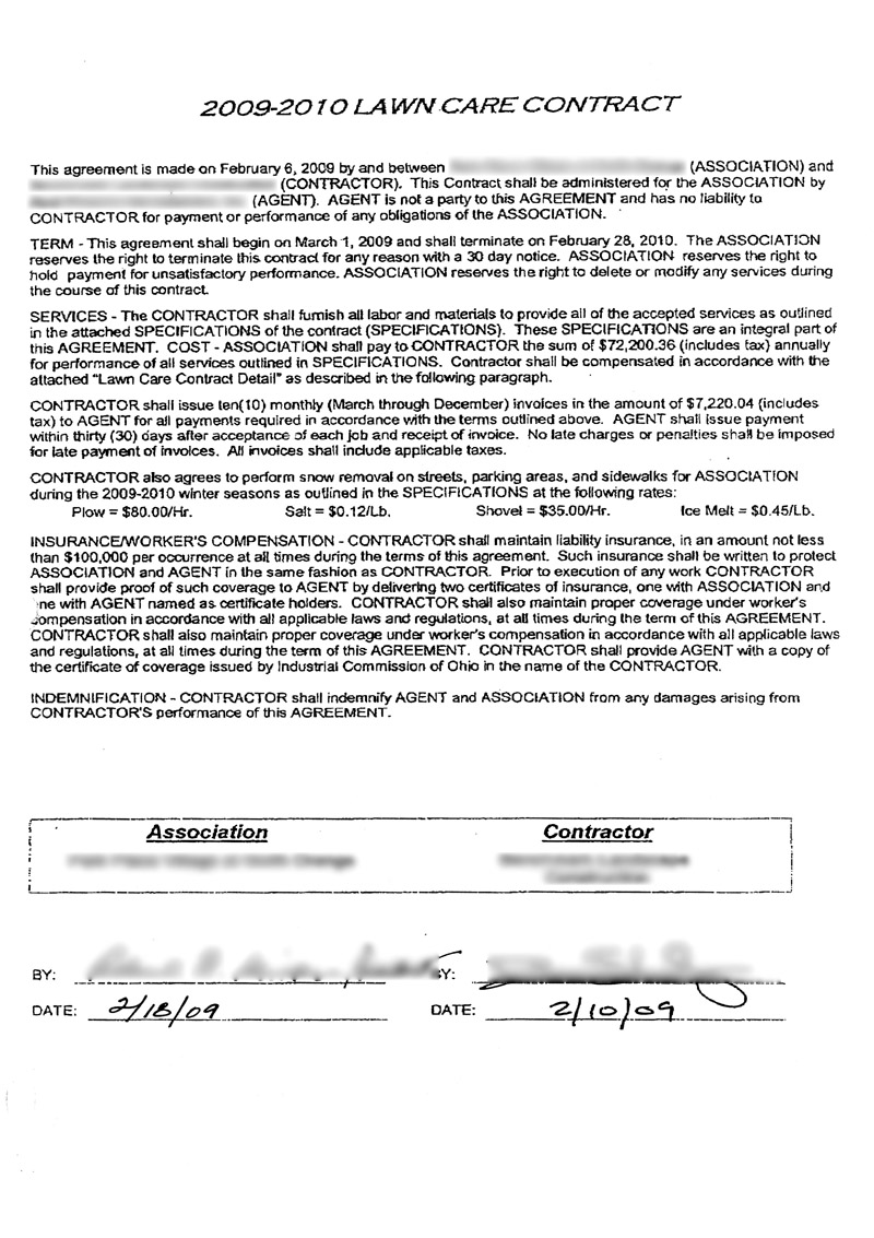 condo association lawn care contract example