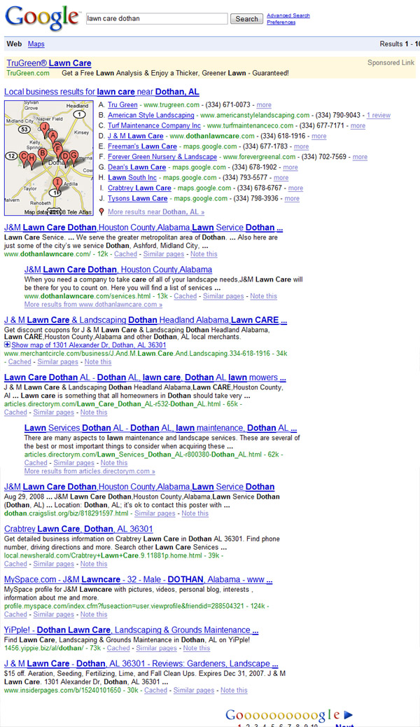 landscaping business search engine results