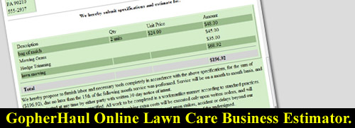 GopherHaul Online Lawn Care Business Estimator. | Lawn Care ...