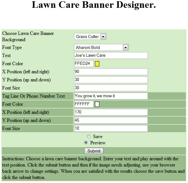 lawn care banner ad designer settings