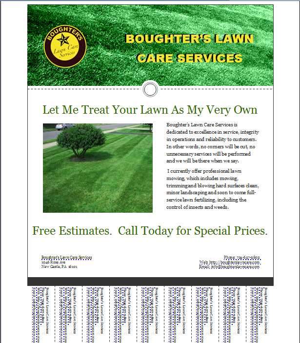 Free lawn mowing flyer templates for Garden maintenance flyer template