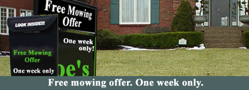 Special Lawn Care offer sign