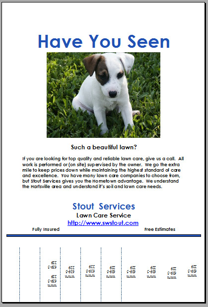Creative lawn care business flyer – Lost Dog Flyer Examples